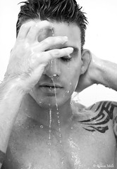 The bath (Rebeca Mello) Tags: brazil portrait bw man water gua brasil photoshop canon studio shower drops model bath retrato modelo gotas software homem banho onone pingos drippingwater cs5 eos50d canoneos50d ononesoftware pingosdegua rebecamello rebecamcmello pps8contest onone4