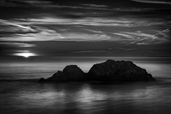 Sunset at Lands End (StefanB) Tags: sanfrancisco california longexposure light sunset sea bw sun seascape reflection water monochrome coast pacific outdoor landsend geotag 1445mm em5 flvonmirikr