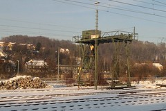 Gantry crane in the DB railway goods yards at Passau station (Marcus Wong from Geelong) Tags: vienna railroad travel train germany austria frankfurt rail railway deutschebahn ice3 europe2012