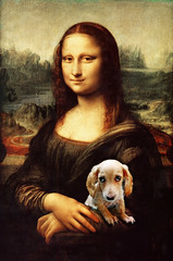 Mona Lisa's Dog (Doxieone) Tags: dog cute art classic smile photoshop painting puppy miniature eyes italian sad monalisa davinci lisa mona dachshund explore pup longhaired