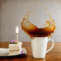 Leftover Birthday Cake (Julie K3) Tags: birthday food coffee cake birthdaycake day42 foodfight playingwithmyfood project365 coffeesplash ilovebirthdaymonth