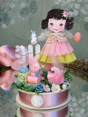 Easter Parade~ (saturdayfinds) Tags: holiday bunny bunnies easter handmade decoration paperdoll diorama whimsical whimsey easterbasket easterparade saturdayfinds bumpchenille