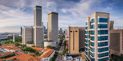 Bain Towers (Scintt) Tags: street city travel sky urban panorama skyline architecture modern clouds marina buildings way bay hall high singapore icons cityscape place skyscrapers traffic horizon towers structures tall rise exploration stitched raffles shenton scintillation scintt