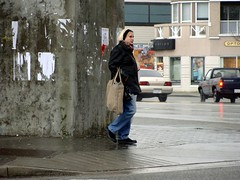 Big Bag (knightbefore_99) Tags: city winter cold rain station vancouver corner bag big bc candid grandview skytrain commercialdrive thedrive