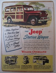 1940s Original The Jeep Station Wagon Willys Overland Ad mounted on a Thick Wood Puzzle Board. 11.5 x 8.5. The American Magazine May 1940 (Vantastic Vintage) Tags: 2 men art home car station wheel wall vintage wagon drive mod jeep recycled ad advertisement 1940s vehicle hanging mad decor willys overland podge heartsy vestiesteam