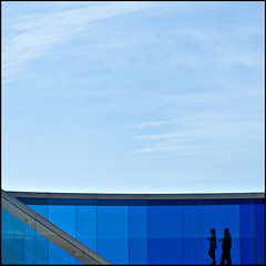 Walking on sunshine ... (Maerten Prins) Tags: blue sky people panorama color colour glass museum denmark rainbow silhouettes aros curve visitors eliasson olafur arhus