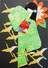 ACEO30 - Among flying birds (tengds) Tags: flowers red black green birds yellow atc geisha kimono obi papercraft japanesepaper washi ningyo handmadecard chiyogami flyingbirds yuzenwashi japanesepaperdoll origamidoll crepewashi tengds