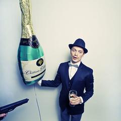 (Magda Beda) Tags: party man beer hat studio beda fun photo bottle crazy model nikon gun image champagne tie guinness bow fedora handgun chateau magda playful d3 strobe stricken elinchrom celebratory wwwmagdabedaca