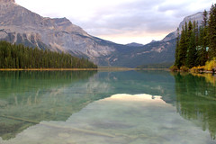 Emerald Lake (johnshlau) Tags: lake canada nature reflections landscape rockies nationalpark wind britishcolumbia turquoise peaceful windy rockymountains serene emerald emeraldlake canadianrockies yohonationalpark glaciallake rockflour presidentrange emeraldcolor