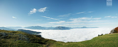 sea of fog [Explored] (desomnis) Tags: above sky panorama mountain mountains alps salzburg nature grass fog clouds canon landscape eos 350d austria sterreich bluesky canoneos350d eos350d greengrass seaoffog