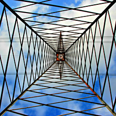 encaged sky (brescia, italy) (bloodybee) Tags: blue sky white clouds square wire power geometry cable symmetry pylon explore electricity