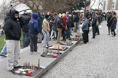 Very annoying hawkers selling cheap crap (notFlunky) Tags: city paris france capital montmartre sacre hawkers cour