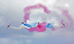 Five Arrow Break (Griffon Stephenson) Tags: blue red sky cloud plane airport aircraft smoke tail wing airshow spitfire redarrows