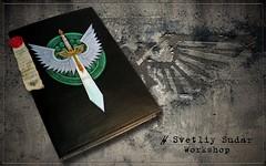 Leather Journal Dark Angels (SvetliySudarWorkshop) Tags: black green leather dark notebook design fb handmade diary journal craft 40k angels warhammer svetliysudarworkshop