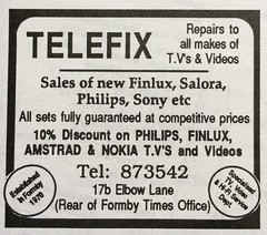 Elbow Lane No 17B 1995 Telefix Repairs To All Makes Of TV and Videos (Formby Civic Society) Tags: formby merseyside 1995 vevj celebrationsouvenirprogramme adverts vevjcelebrationsouvenirprogramme