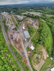 Catskill Scrapyard (milfodd) Tags: august 2016 singlerawhdr catskill aerialphotography quadcopter dji phantom3pro drone scrapyard junk scrapmetal ptgui