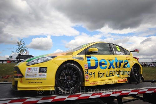 Alex Martin's car is recovered during the BTCC 2016 Weekend at Snetterton