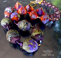 Necklace Rocks Violet Bricks (Laura Blanck Openstudio) Tags: openstudio openstudiobeads handmade lampwork glass art beads jewelry necklace etched matte frosted opaque shiny artisan fine arts artist made usa whimsical funky odd rocks bicones abstract earthy asymmetric organic swarovski crystals winner show festival transparent rare one kind violet purple grape lilac lavender ocher raku frit orange coral enamels colorful multicolor brick sienna turquoise blue speckles