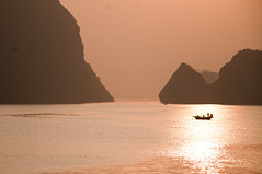rose gold (_Maganna) Tags: outside landscape vietnam halongbay bay gold golden sun sunset sunrise boat mountains view reflection light paysage horizon sea ocean sky travel