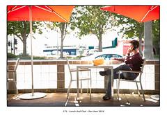 Lunch And Chat (Godfrey DiGiorgi) Tags: worldphotoday cellphone color detail neighborhood people street umbrella urban sanjose california usa us