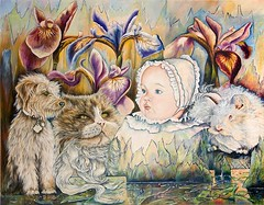 Zofia K. Aue:  Still in Eden (Walter A. Aue) Tags: zofiakaue paintings gemaelde malereien paradise eden dreams cat dog rabbit baby ice icicles