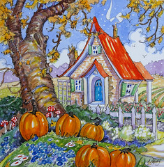Signs of the Season Storybook Cottage original Alida Bayne Akers (cottagelover1953) Tags: red roof cottage deco whimsical house home storybook fairy tale pumpkin fall autumn watercolor original painting retro