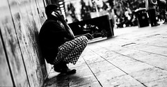 Breaktime (kungfuslippers) Tags: sel55f18z sony sonya7 zeiss manchester picadillygardens ilce7 a7 phone cigarette break hicontrast tilt dutchangle