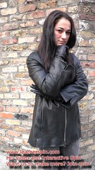Girl in leather jacket and leather gloves (girl leather pants) Tags: girl leather jacket gloves