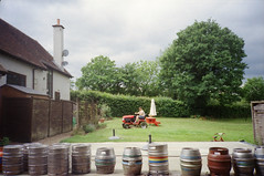 the half moon pub (Ren Sterling) Tags: sussex half moon pub kegs lawn mower grass england uk britain kodak gold 400 35mm olympus xa