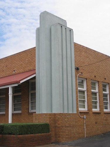 The Stepped Concrete Pylon of the Streamlime Moderne Korumburra Comfort Station for Women - Radovic Street, Korumburra