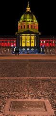 performing arts plaza panorama (pbo31) Tags: sanfrancisco california plaza red panorama orange color colors northerncalifornia architecture night gold football team lowlight nikon cityhall nfl january large 49ers panoramic structure bayarea playoffs stitched civiccenter 2013 d700