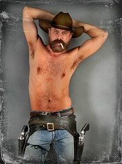 Hot and Sweaty (Cowboy Tommy) Tags: shirtless hairy hot sexy face muscles hat fur beard model furry cowboy nipples muscle cigarette blueeyes handsome dude smoking jeans western stache smoker abs stud buckles barechest holster bulge armpits lanky treasuretrail