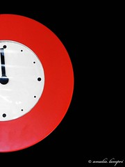 Time in three colors (amalia lam) Tags: light red white black clock colors lines wall canon reflections photography shadows time photos circles watch shapes hour reloj symmetric symmetrical horloge clocks wallclock clockwise shapely regular blackwall wathes amalialampri amalialam clockminutehand