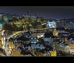 Luxembourg Old City view at night under snow (lathuy) Tags: old city winter snow abbey night europe long exposure hiver exposition neige luxembourg nuit ville vieille abbaye grund longue neumunster