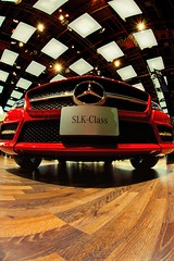 2013 North American International Auto Show-Detroit, MI (Mike Boening Photography) Tags: red mercedes hall detroit autoshow 16mm naias lowprofile cobo slkclass northamericaninternationalautoshow cobohall 16mmfisheye nikond600