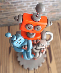 Commission: Robot Dad holding children robots (HerArtSheLoves) Tags: cute smiling children happy mixed holding media paint heart handmade ooak rustic adorable gear robots chic commission antenna quirky geeky gripping shabby robotfamily robotbaby robotfather robotdad robottoddler