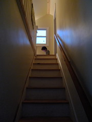 Child on Steps (Chris Lopez) Tags: light window mystery sitting child steps staircase railing
