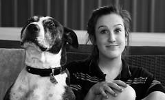 Angus and Chelsea (Ashley Pemberton) Tags: girls boy portrait people blackandwhite bw dog white black dogs girl face animal nose eyes couple lips