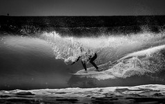 Surf @ Big Rock (Laurent_Imagery) Tags: ocean sea bw white water sport magazine big nikon surf pacific sandiego action surfer extreme tube pipe barrel culture lifestyle wave lajolla surfing spray surfboard editorial leash splash swell fins wetsuit lightroom windansea lr4 rockcaliforniausadarkcontrastblack