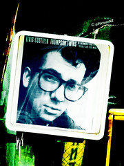 Elvis Costello (Steve Taylor (Photography)) Tags: city blue newzealand christchurch green yellow poster earthquake concert tour january canterbury 25 nz quake southisland cbd drips damaged 1986 racecourse tilted elviscostello addington thompsontwins smears netherworlddancingtoys frankieandpaulmorley