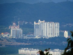 Aerial View Of 1 Borneo, Kota Kinabalu (thienzieyung) Tags: new morning travel blue trees windows red terrain eye birds buildings village view zoom towers places mosque aerial hills roofs views malaysia reflective balconies kotakinabalu suburbs hotels geography roads range development forests sabah crocker condominiums bukit ridges slopes banjaran kokol 1borneo hypermall thienzieyung kampungbambangan