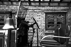 Driver seat (SpaceMars) Tags: blackandwhite car wheel 50mm automobile bell bricks seats vehicle fireengine aged  kowloon monochome negativefilm    1881heritage agehongkong