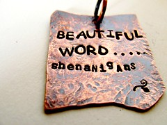 shenanigans (Stephanie Distler) Tags: doctorwho oxidizedcopper copperpendant stephaniedistler hammeredpendant beautifulwordshenanigans quotependant