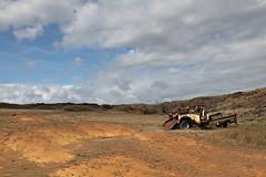 The Hike to Papakolea (the known universe) Tags: abandoned truck hawaii rust rusted greensand southpoint mahana papakolea papakoleagreensandbeach kaʻū mahanabeach