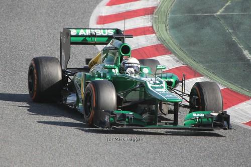 Giedo van der Garde in his Caterham at Formula One Winter Testing 2013
