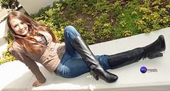 Different POV of Alyssa, enjoying sunlight. (Terry Sosnowich Photography (2.8 million views)) Tags: female asian model boots jeans brunette