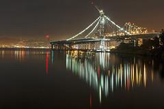 Bay Bridge: New eastern span reflections (KP Tripathi (kps-photo.com)) Tags: sanfrancisco colors night reflections oakland berkeley baybridge bayarea sfbayarea easternspan kptripathi