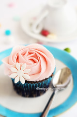 Pink rose cupcake (dhmig) Tags: pink italy stilllife food macro rose closeup dessert nikon naturallight sugar delicious cupcake sweets icing treat temptation sweetness frosting greed gluttony delicacy buttercream foodphotography sugardecoration 50mmf28 softcolors softcolours cupcakefrosting nikond7000 dhmig dhmigphotography cakesdecoration flowershapefrosting