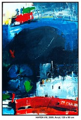 HAFEN VIII (CHRISTIAN DAMERIUS - KUNSTGALERIE HAMBURG) Tags: orange berlin rot silhouette modern strand deutschland see licht stillleben dock gesicht meer wasser foto fenster räume hamburg herbst felder wolken haus technik menschen container gelb stadt grün blau ufer hafen fluss landungsbrücken wald nordsee bäume ostsee schatten spiegelung schwarz elbe horizont bilder schiffe ausstellung schleswigholstein figuren frühling landschaften wellen häuser kräne rapsfelder fläche acrylbilder hamburgermichel realistisch nordart acrylmalerei expressionistisch acrylgemälde auftragsmalerei auftragsbilder kunstausschreibungen kunstwettbewerbe galerienhamburg auftragsmalereihamburg hamburgerkünstler kunstgaleriehamburg galerieninhamburg acrylbilderhamburg virtuellegaleriehamburg acrylmalereihamburg