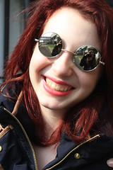 IMG_3645 (-giulia) Tags: morning school red sun girl smile sunglasses vintage hair happy glasses ginger reflex day young happiness sunny vale redhead teen teenager lipstick